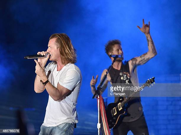 Tyler Hubbard and Brian Kelley of Florida Georgia Line perform during the 2015 Kick Up The Dust Tour at Levi's Stadium on August 29 2015 in Santa...