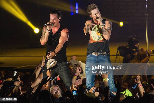 Tyler Hubbard and Brian Kelley of Florida Georgia Line perform on stage during the Watershed Music Festival at The Gorge on July 31 2015 in George...