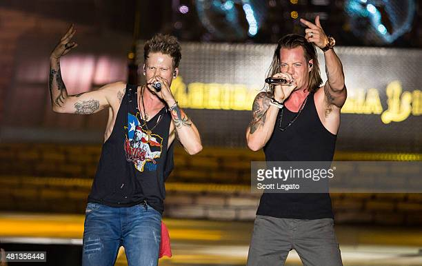Tyler Hubbard and Brian Kelley of Florida Georgia Line performs in support of Anything Goes Tour on day 3 of the Faster Horses Festival at Michigan...