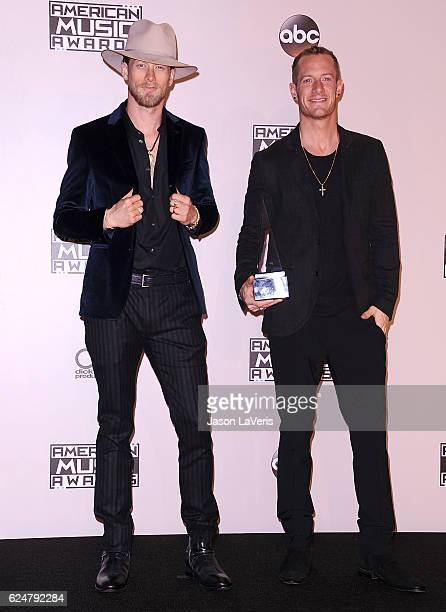 Tyler Hubbard and Brian Kelley of Florida Georgia Line pose in the press room at the 2016 American Music Awards at Microsoft Theater on November 20...