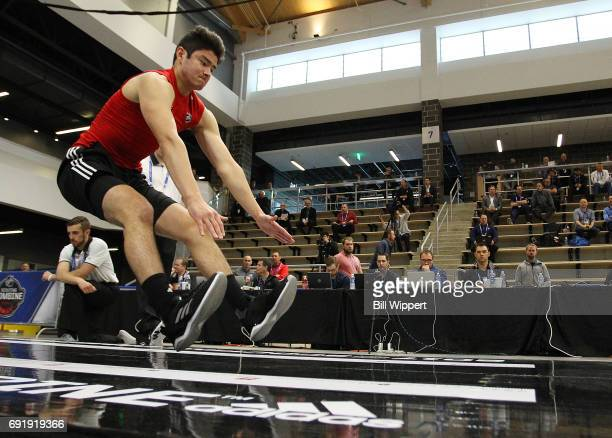 Tyler Inamoto performs the Long Jump during the NHL Combine at HarborCenter on June 3 2017 in Buffalo New York