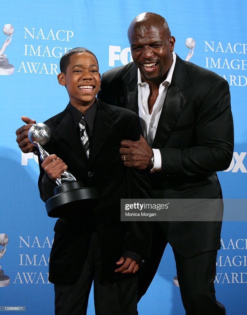 Tyler James Williams and Terry Crews during 38th Annual NAACP Image Awards - Press Room at Shrine Auditorium in Los Angeles, California, United States.