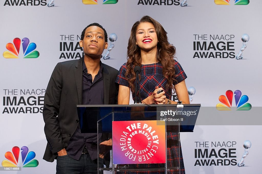<a gi-track='captionPersonalityLinkClicked' href=/galleries/search?phrase=Tyler+James+Williams&family=editorial&specificpeople=631099 ng-click='$event.stopPropagation()'>Tyler James Williams</a> and Zendaya announce the nominees at the 44th NAACP Image Awards Press Conference at The Paley Center for Media on December 11, 2012 in Beverly Hills, California.
