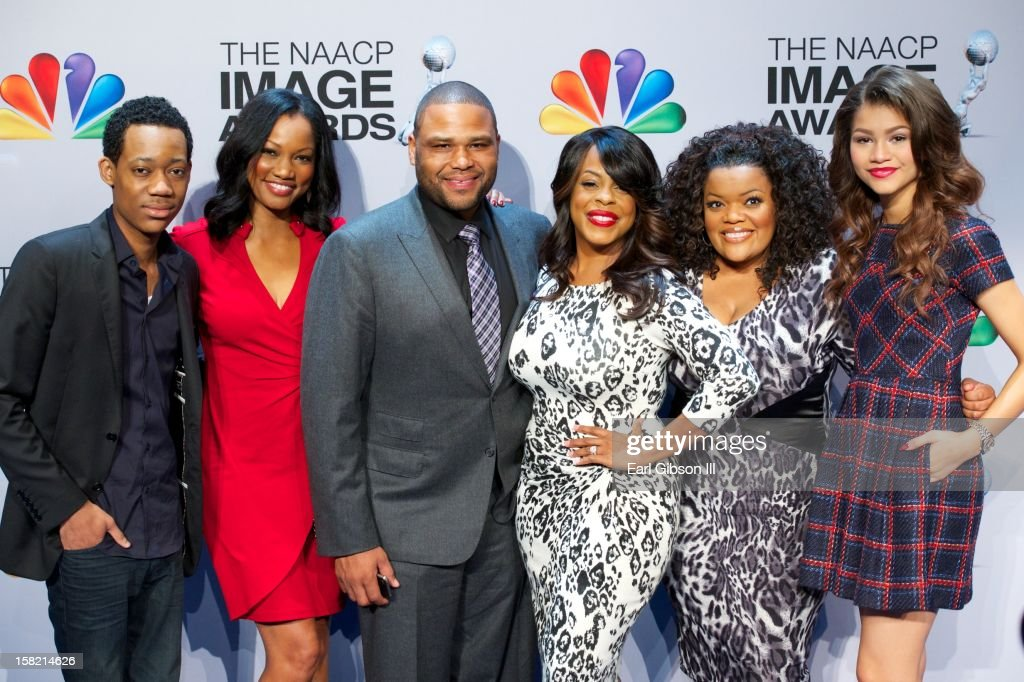 Tyler James Williams, Garcelle Beauvais, Anthony Anderson, Niecy Nash, Yvette Nicole-Brown and Zendaya pose for a photo at the 44th NAACP Image Awards Press Conference at The Paley Center for Media on December 11, 2012 in Beverly Hills, California.
