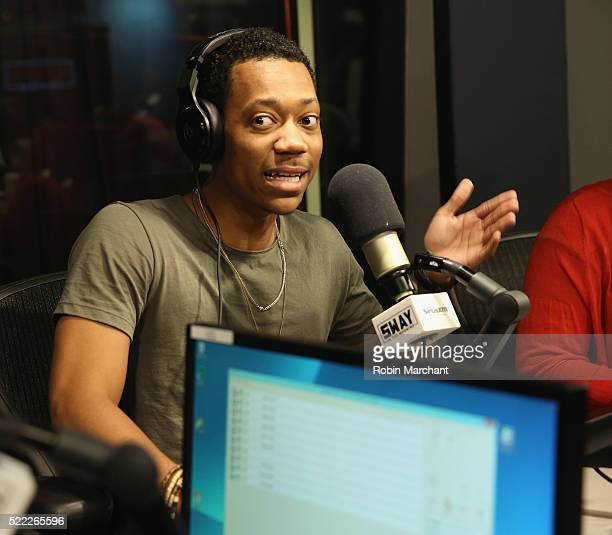 Tyler James Williams visits 'Sway in the Morning' with Sway Calloway on Eminem's Shade 45 at SiriusXM Studio on April 18 2016 in New York City