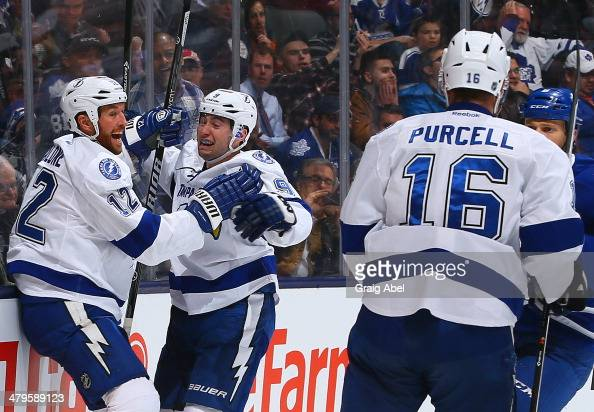 Tyler Johnson and Ryan Malone of the Tampa Bay Lightning celebrate a Tyler Johnson goal against the Toronto Maple Leafs during NHL game action March...