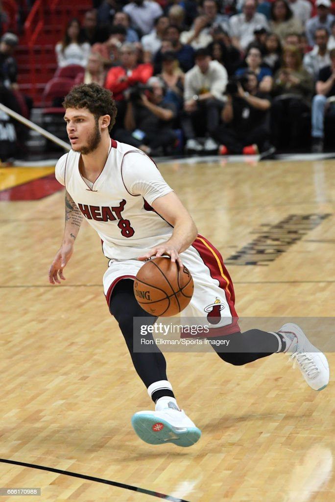 Tyler Johnson #8 of the Miami Heat in action during a NBA game against the New York Knicks on March 31, 2017 at AmericanAirlines Arena in Miami, Florida.