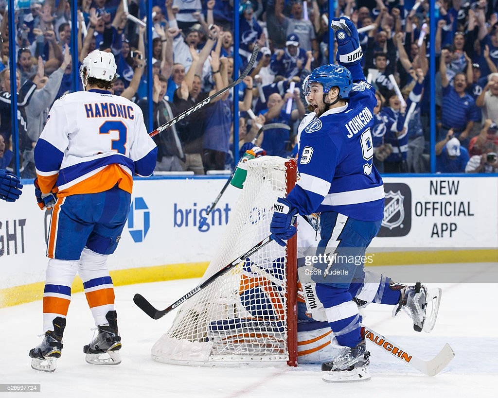 Tyler Johnson #9 of the Tampa Bay Lightning celebrates his goal against Travis Hamonic #3 and goalie Thomas Greiss #1 of the New York Islanders during the first period of Game Two of the Eastern Conference Second Round in the 2016 NHL Stanley Cup Playoffs at the Amalie Arena on April 30, 2016 in Tampa, Florida.