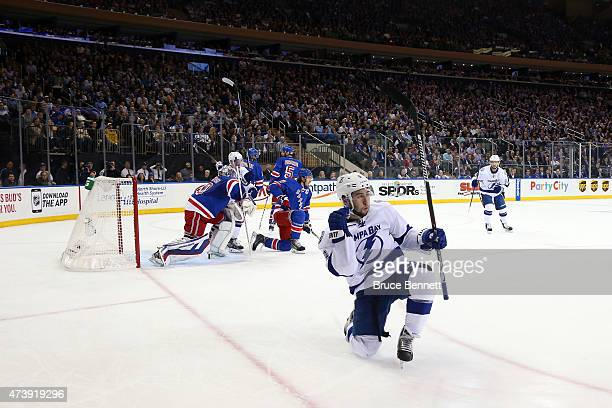 Tyler Johnson of the Tampa Bay Lightning celebrates his second goal in the first period against Henrik Lundqvist of the New York Rangers during Game...