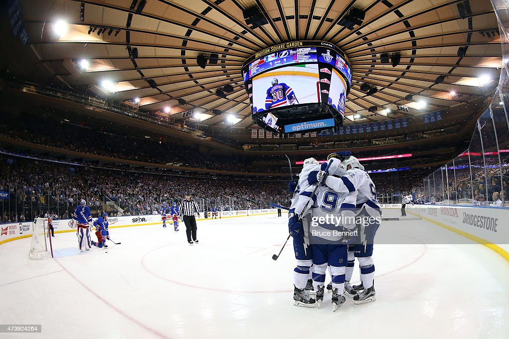Tyler Johnson #9 of the Tampa Bay Lightning celebrates with his teammates after his second goal in the first period against Henrik Lundqvist #30 of the New York Rangers during Game Two of the Eastern Conference Finals during the 2015 NHL Stanley Cup Playoffs at Madison Square Garden on May 18, 2015 in New York City.