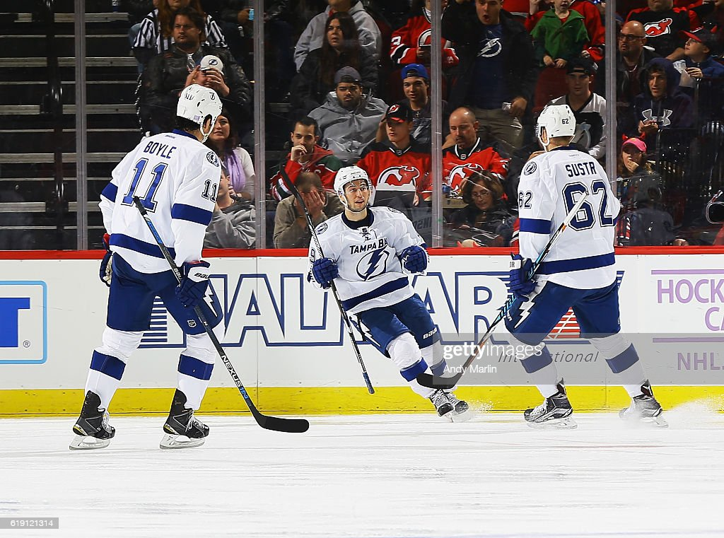 Tyler Johnson #9 of the Tampa Bay Lightning reacts after scoring a goal against the New Jersey Devils during the game at Prudential Center on October 29, 2016 in Newark, New Jersey.