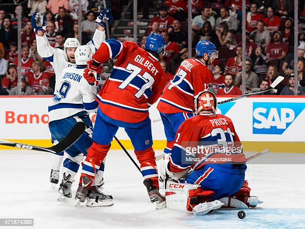 Tyler Johnson of the Tampa Bay Lightning scores on goaltender Carey Price of the Montreal Canadiens in Game One of the Eastern Conference Semifinals...