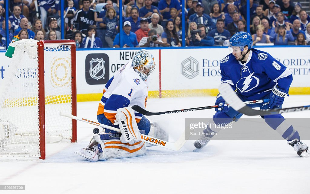 Tyler Johnson #9 of the Tampa Bay Lightning shoots the puck for a goal against goalie Thomas Greiss #1 of the New York Islanders during the first period of Game Two of the Eastern Conference Second Round in the 2016 NHL Stanley Cup Playoffs at the Amalie Arena on April 30, 2016 in Tampa, Florida.