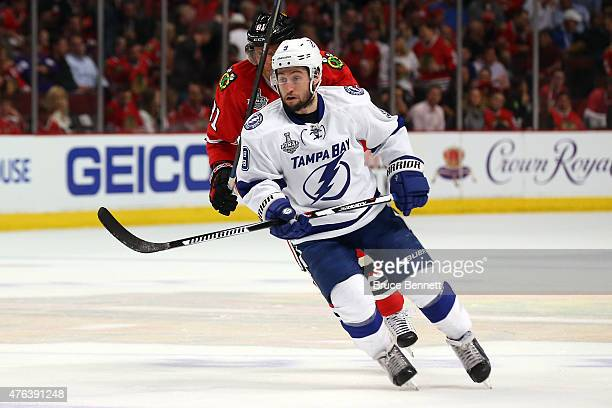 Tyler Johnson of the Tampa Bay Lightning skates against the Chicago Blackhawks during Game Three of the 2015 NHL Stanley Cup Final at the United...