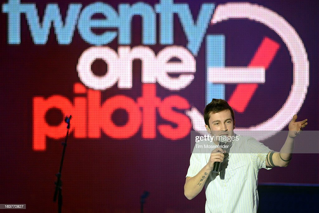 Tyler Joseph of Twenty One Pilots performs at the mtvU Woodie Awards on March 14, 2013 in Austin, Texas.