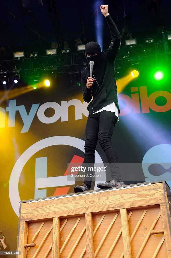 Tyler Joseph performs during the 2014 Forecastle Music Festival at Louisville Waterfront Park on July 18, 2014 in Louisville, Kentucky.
