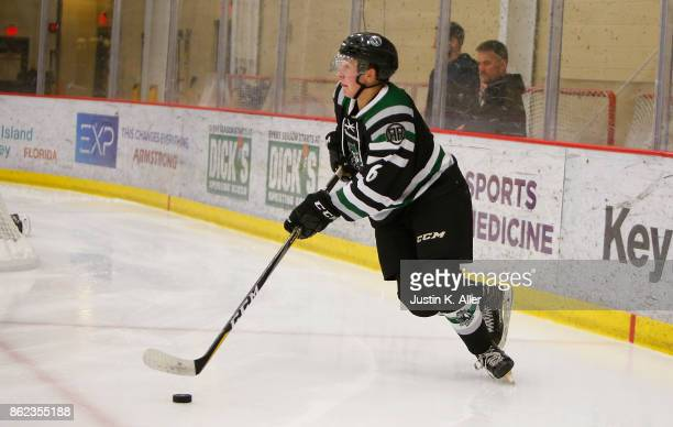 Tyler Jubenvill of the Cedar Rapids RoughRiders skates with the puck during the game against the Sioux Falls Stampede on Day 2 of the USHL Fall...