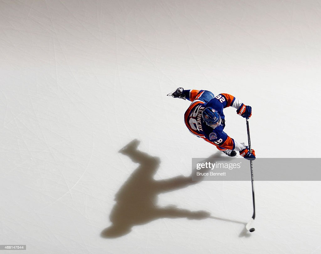 Tyler Kennedy #26 of the New York Islanders skates in warm-ups prior to the game against the Detroit Red Wings at the Nassau Veterans Memorial Coliseum on March 29, 2015 in Uniondale, New York. The Islanders defeated the Red Wings 5-4.