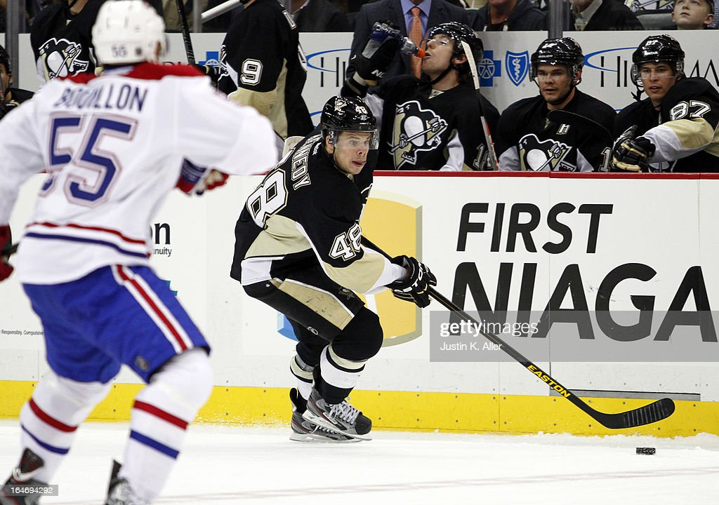 Tyler Kennedy #48 of the Pittsburgh Penguins handles the puck against the Montreal Canadiens during the game at Consol Energy Center on March 26, 2013 in Pittsburgh, Pennsylvania. The Penguins defeated the Canadiens 1-0.