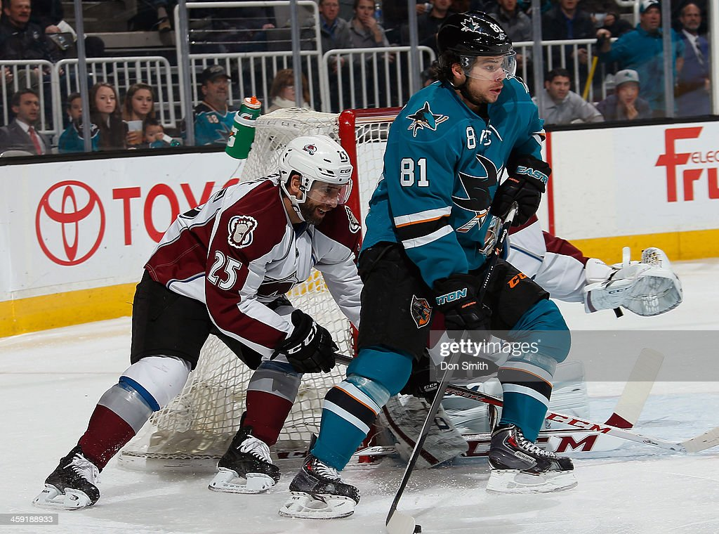 <a gi-track='captionPersonalityLinkClicked' href=/galleries/search?phrase=Tyler+Kennedy&family=editorial&specificpeople=2119414 ng-click='$event.stopPropagation()'>Tyler Kennedy</a> #81 of the San Jose Sharks looks to pass the puck against <a gi-track='captionPersonalityLinkClicked' href=/galleries/search?phrase=Maxime+Talbot&family=editorial&specificpeople=2078922 ng-click='$event.stopPropagation()'>Maxime Talbot</a> #25 of the Colorado Avalanche during an NHL game on December 23, 2013 at SAP Center in San Jose, California.