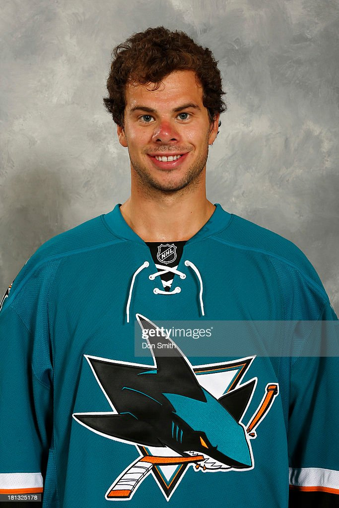<a gi-track='captionPersonalityLinkClicked' href=/galleries/search?phrase=Tyler+Kennedy&family=editorial&specificpeople=2119414 ng-click='$event.stopPropagation()'>Tyler Kennedy</a> of the San Jose Sharks poses for his official headshot for the 2013-14 season on September 11, 2013 at SAP Center in San Jose, California.