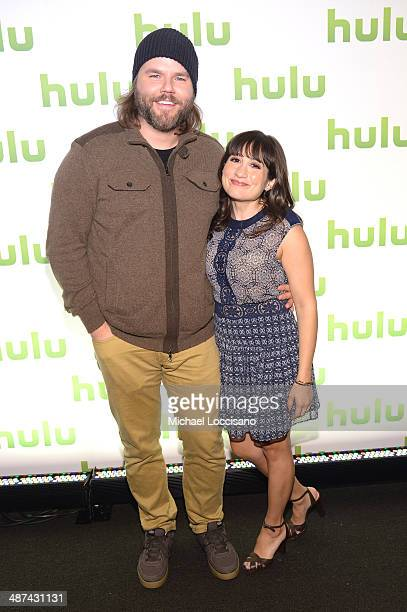Tyler Labine and Lucy DeVito attend Hulu's Upfront Presentation on April 30 2014 in New York City