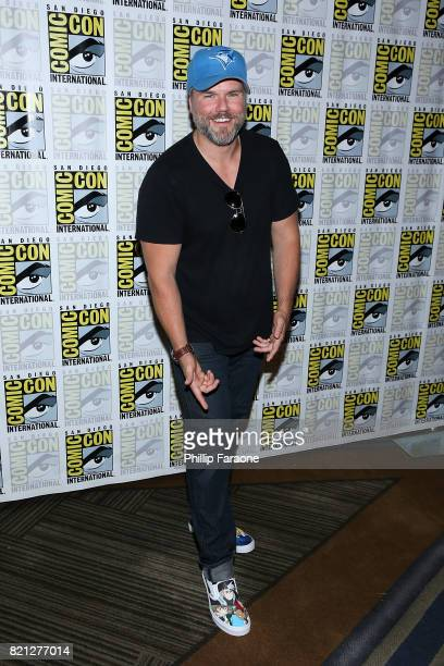 Tyler Labine attends Dirk Gently's Holistic Detective Agency press line at ComicCon International 2017 on July 23 2017 in San Diego California