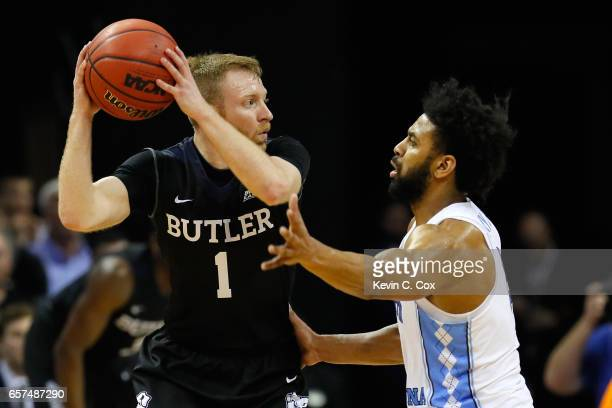Tyler Lewis of the Butler Bulldogs handles the ball against Joel Berry II of the North Carolina Tar Heels in the second half during the 2017 NCAA...