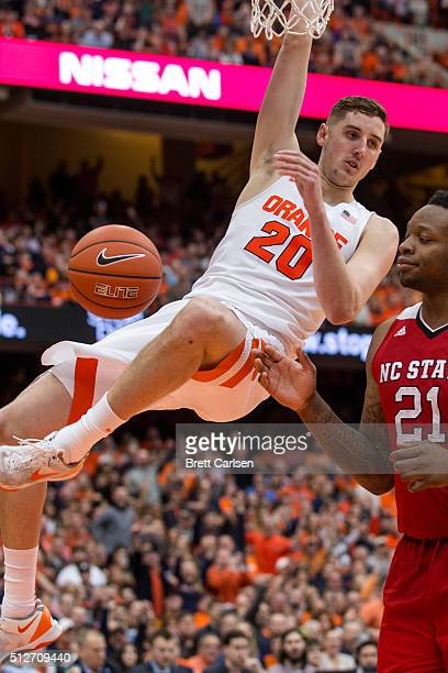 Tyler Lydon of the Syracuse Orange celebrates a slam dunk during the second half against the North Carolina State Wolfpack on February 27 2016 at The...