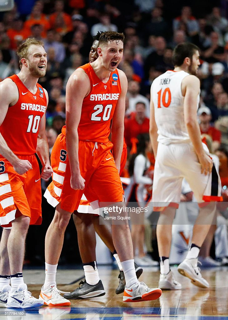 Tyler Lydon of the Syracuse Orange celebrates in the second half against the Virginia Cavaliers during the 2016 NCAA Men's Basketball Tournament...