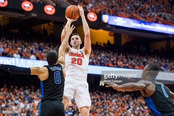 Tyler Lydon of the Syracuse Orange pulls up for a turn around jumper during the second half against the Duke Blue Devils on February 22 2017 at The...