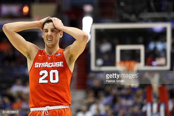 Tyler Lydon of the Syracuse Orange reacts against the Pittsburgh Panthers during the second half in the second round of the 2016 ACC Basketball...
