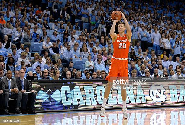 Tyler Lydon of the Syracuse Orange takes a threepoont shot against the North Carolina Tar Heels during their game at the Dean Smith Center on...