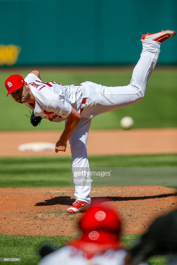 Tyler Lyons #70 of the St. Louis Cardinals pitches during the eighth inning against the Milwaukee Brewers at Busch Stadium on June 13, 2017 in St. Louis, Missouri.