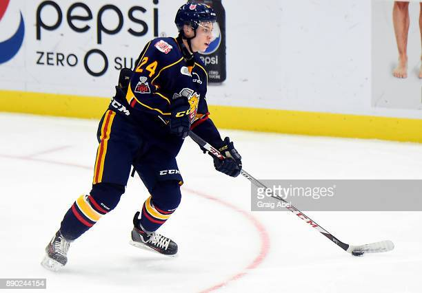 Tyler MacArthur of the Barrie Colts controls the puck against the Mississauga Steelheads during OHL game action on December 8 2017 at Hershey Centre...