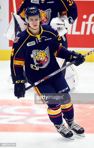 Tyler MacArthur of the Barrie Colts skates in warmup prior to a game against the Mississauga Steelheads on December 8 2017 at Hershey Centre in...