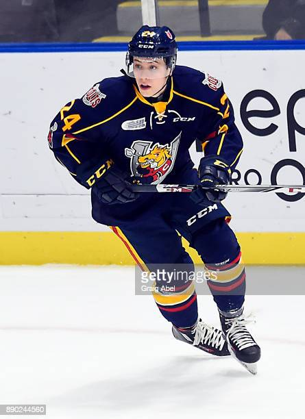 Tyler MacArthur of the Barrie Colts turns up ice against the Mississauga Steelheads during OHL game action on December 8 2017 at Hershey Centre in...