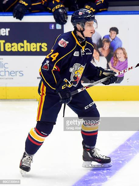 Tyler MacArthur of the Barrie Colts watches the play develop against the Mississauga Steelheads during OHL game action on December 8 2017 at Hershey...