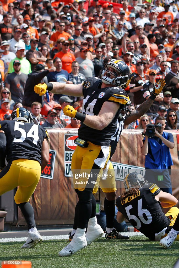 dec3f19788f ... game Tyler Matakevich 44 of the Pittsburgh Steelers celebrates after  blocking a punt for a touchdown ...