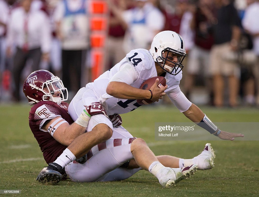 Tyler Matakevich #8 of the Temple Owls sacks <a gi-track='captionPersonalityLinkClicked' href=/galleries/search?phrase=Christian+Hackenberg&family=editorial&specificpeople=11321709 ng-click='$event.stopPropagation()'>Christian Hackenberg</a> #14 of the Penn State Nittany Lions in the fourth quarter on September 5, 2015 at Lincoln Financial Field in Philadelphia, Pennsylvania. The Owls defeated the Nittany Lions 27-10.