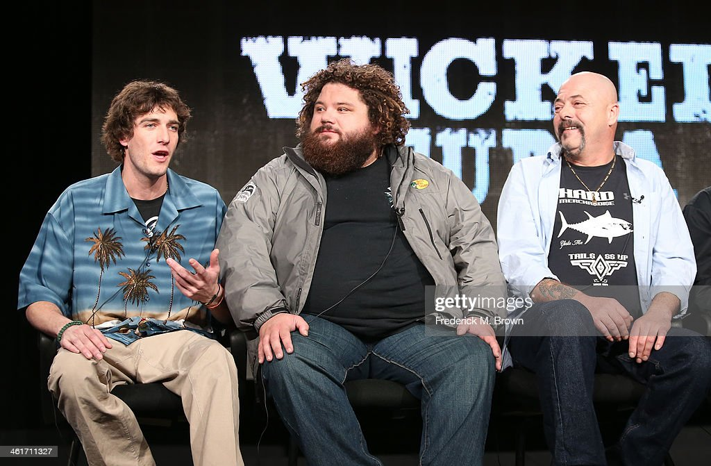 Tyler McLaughlin, T.J. Ott and Dave Marciano speak onstage during the 'National Geographic Channel - Wicked Tuna' panel discussion at the National Geographic Channels portion of the 2014 Winter Television Critics Association tour at the Langham Hotel on January 10, 2014 in Pasadena, California.
