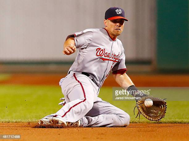 Tyler Moore of the Washington Nationals attempts to field a ground ball at first base against the Pittsburgh Pirates during the game at PNC Park on...