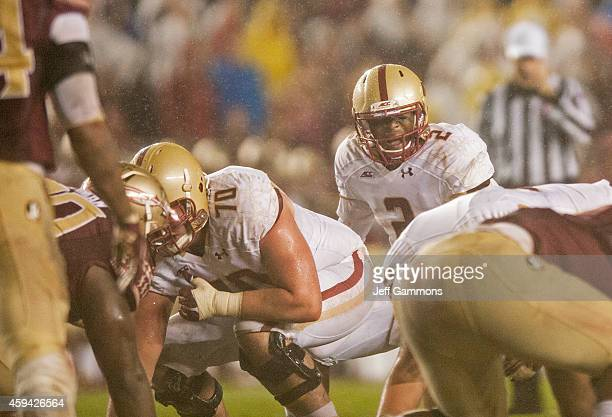 Tyler Murphy of the Boston College Eagles calls to his line during the game at Doak Campbell Stadium on November 22 2014 in Tallahassee Florida The...