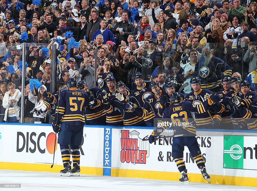 <a gi-track='captionPersonalityLinkClicked' href=/galleries/search?phrase=Tyler+Myers&family=editorial&specificpeople=4595080 ng-click='$event.stopPropagation()'>Tyler Myers</a> #57 of the Buffalo Sabres celebrates his third period goal with teammate <a gi-track='captionPersonalityLinkClicked' href=/galleries/search?phrase=Tyler+Ennis+-+Ice+Hockey+Player&family=editorial&specificpeople=4754184 ng-click='$event.stopPropagation()'>Tyler Ennis</a> #63 against the Philadelphia Flyers on January 20, 2013 at the First Niagara Center in Buffalo, New York. Buffalo defeated Philadelphia, 5-2.