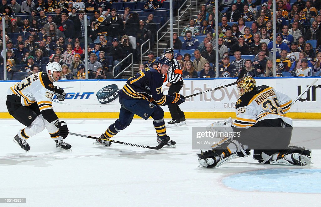 <a gi-track='captionPersonalityLinkClicked' href=/galleries/search?phrase=Tyler+Myers&family=editorial&specificpeople=4595080 ng-click='$event.stopPropagation()'>Tyler Myers</a> #57 of the Buffalo Sabres has his shot stopped by <a gi-track='captionPersonalityLinkClicked' href=/galleries/search?phrase=Anton+Khudobin&family=editorial&specificpeople=722106 ng-click='$event.stopPropagation()'>Anton Khudobin</a> #35 of the Boston Bruins alongside <a gi-track='captionPersonalityLinkClicked' href=/galleries/search?phrase=Zdeno+Chara&family=editorial&specificpeople=203177 ng-click='$event.stopPropagation()'>Zdeno Chara</a> #33 on March 31, 2013 at the First Niagara Center in Buffalo, New York. Boston defeated Buffalo, 2-0.