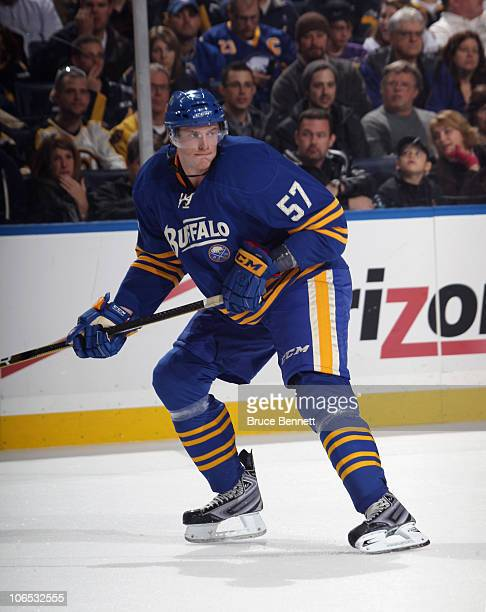 Tyler Myers of the Buffalo Sabres skates against the Boston Bruins at the HSBC Arena on November 3 2010 in Buffalo New York The Bruins defeated the...