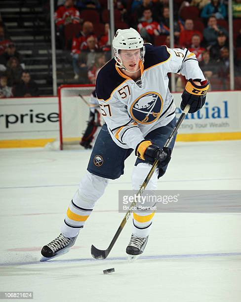 Tyler Myers of the Buffalo Sabres skates against the New Jersey Devils at the Prudential Center on November 10 2010 in Newark New Jersey The Sabres...