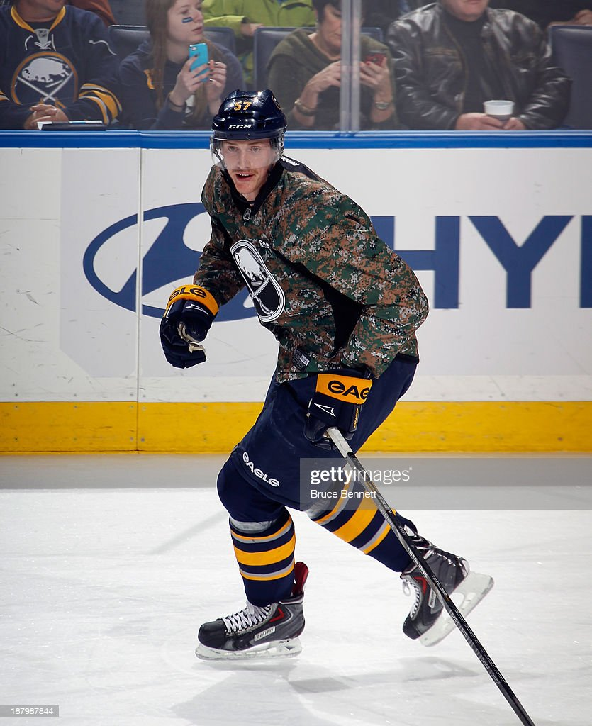 <a gi-track='captionPersonalityLinkClicked' href=/galleries/search?phrase=Tyler+Myers&family=editorial&specificpeople=4595080 ng-click='$event.stopPropagation()'>Tyler Myers</a> #57 of the Buffalo Sabres skates in warm-ups prior to the game against the Los Angeles Kings at the First Niagara Center on November 12, 2013 in Buffalo, New York.