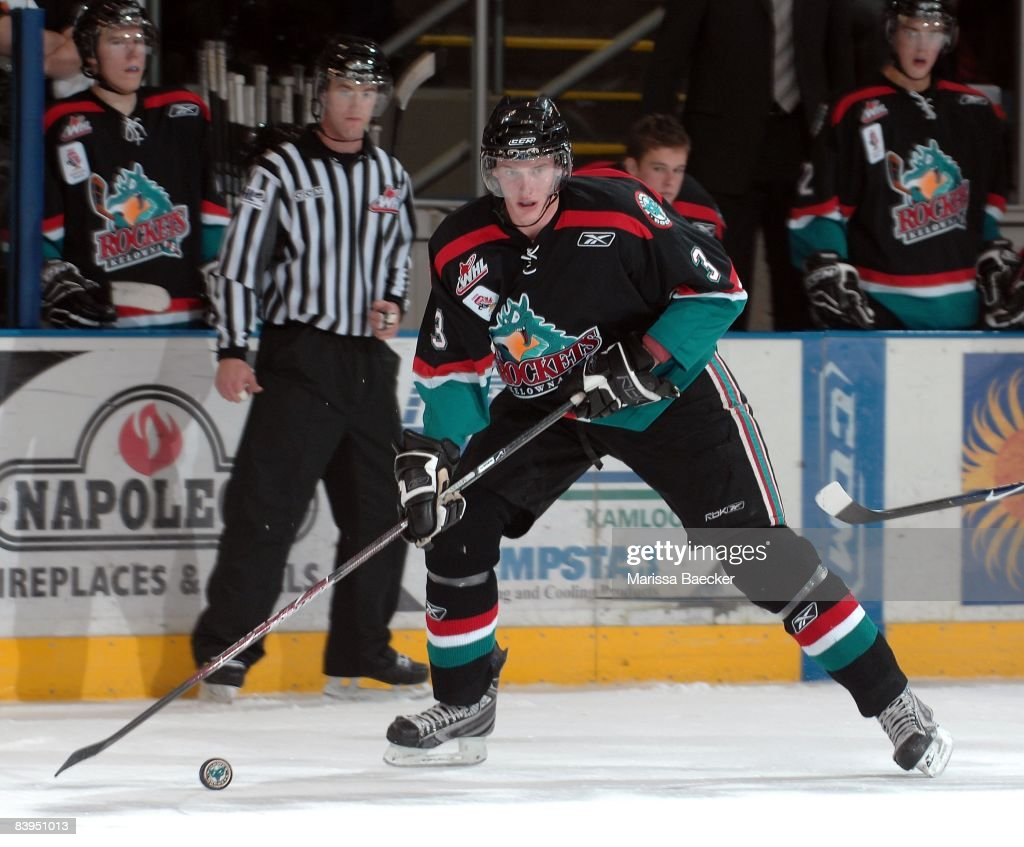 Tyler Myers of the Kelowna Rockets and a 2008 NHL Buffalo Sabres draft pick skates against the Chilliwack Bruins at the Kelowna Rockets on December 3...