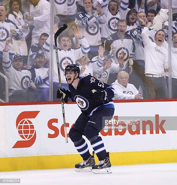Tyler Myers of the Winnipeg Jets celebrates his goal in secondperiod action in Game Three of the Western Conference Quarterfinals against the Anaheim...